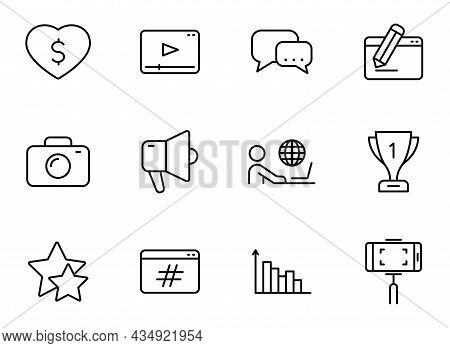 Blog Line Vector Icons Isolated On White. Blogger Outline Icon Set For Web And Ui Design, Mobile App