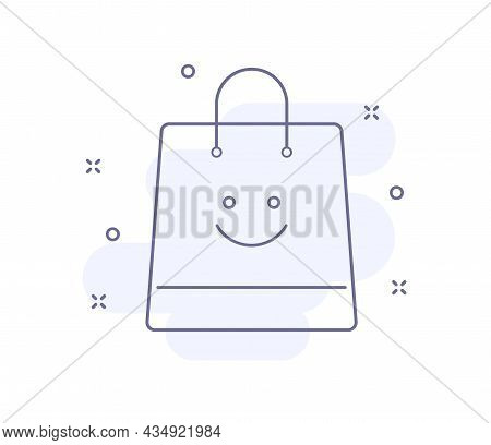 Bag With Smile Outline Vector Illustration Isolated On White. Bag With Smile Purple Line Icon With L