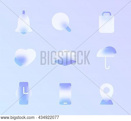 Glass Morphism Trendy Style Icon Set. Transparent Glass Color Vector Icons With Blur And Purple Grad