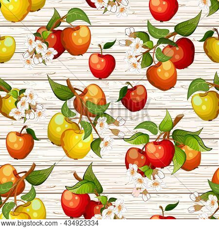 Multi-colored Apples On A Wooden Background.apple Tree Branches With Flowers On A Wooden Background