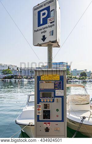Zadar, Croatia - July 29, 2021: Parking Lot For Street Car Parking, Close Up In Zadar, Dalmatia, Cro