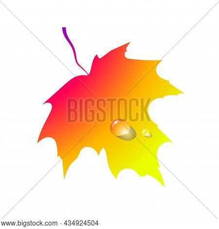 Gradient Autumn Leaf. Silhouette Foliage Maple Autumnal Yellow And Orange Colors, Icon Isolated On W