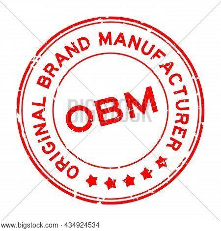 Grunge Red Obm Original Brand Manufacturer Word Round Rubber Seal Stamp On White Background