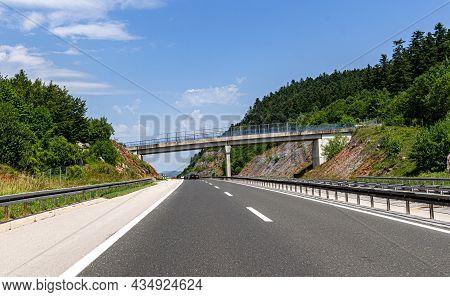 Highway Bridge And Cars On The Road, Croatia.