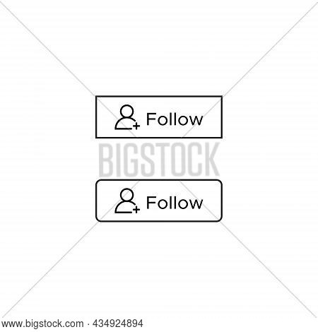 Follow Button Icon Vector In Line Style