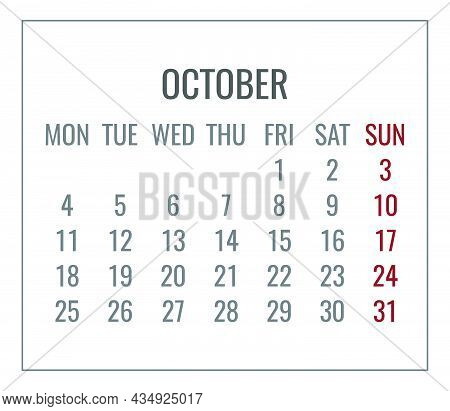 October Year 2021 Vector Monthly Plain Minimalist White Calendar. Week Starting From Monday.