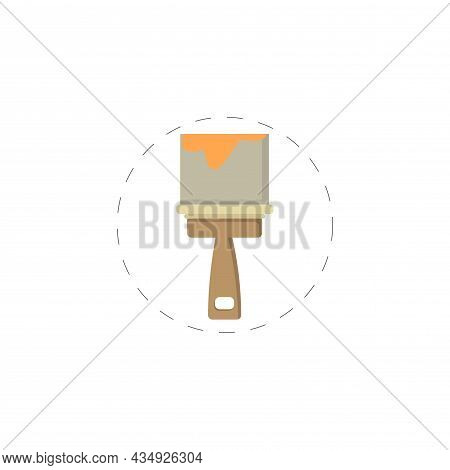 Paint Brush Clipart. Paint Brush Colorful Flat Vector Icon.