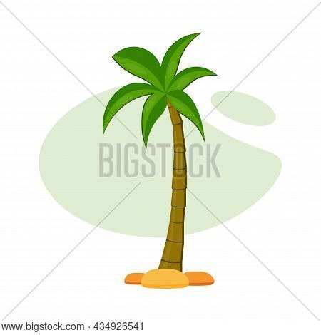 Palm Clipart. Palm Colorful Flat Vector Icon.