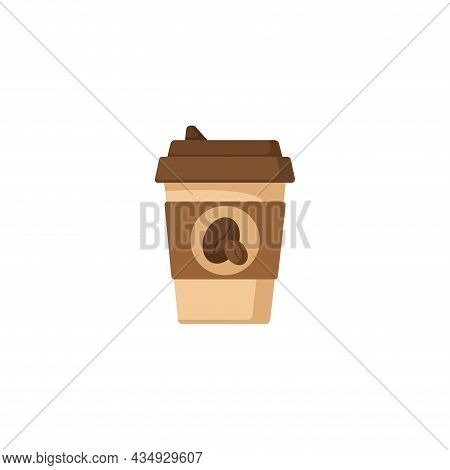 Coffee In Disposable Cup Clipart. Coffee In Disposable Cup Colorful Flat Vector Icon.