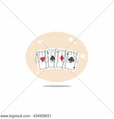 Playing Card Aces Clipart. Playing Card Aces Colorful Flat Vector Icon.