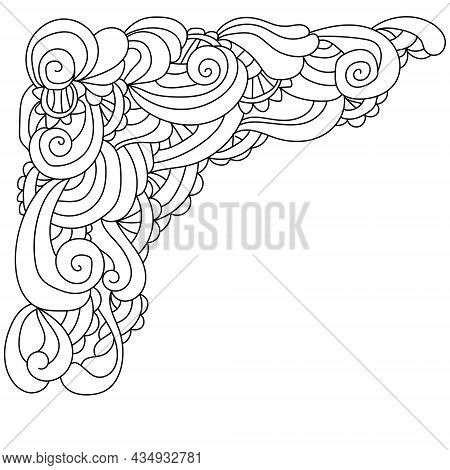 Doodle Zen Corner With Curls And Wavy Motifs, Outline Frame Coloring Book Page With Ornate Patterns