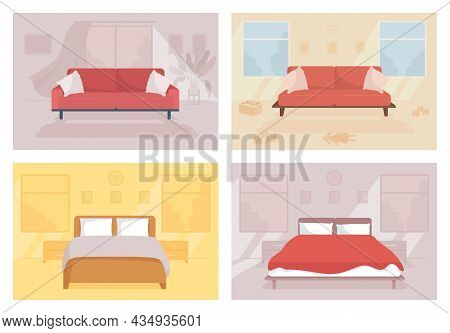 Family Home Flat Color Vector Illustration. Contemporary Couch. Toys On Floor. Double Bed For Lounge