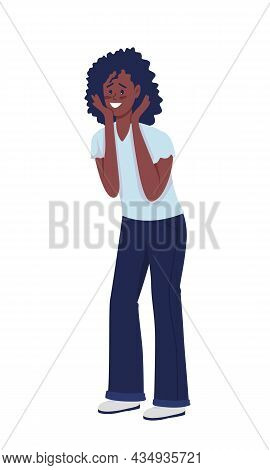 Excited Woman Semi Flat Color Vector Character. Posing Figure. Full Body Person On White. Happy Girl