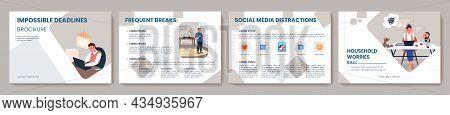 Professional Burnout Flat Vector Brochure Template. Flyer, Booklet, Printable Leaflet Design With Fl
