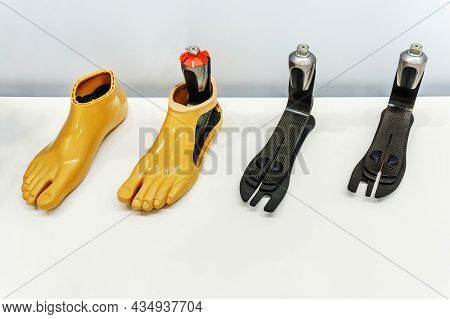Artificial Feet Made Of Plastic And High-strength Carbon Fiber. Modern Technology For Prosthetic Lim