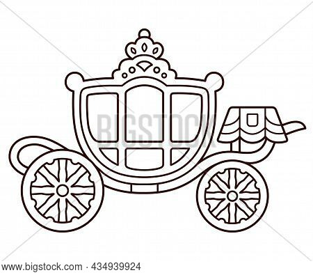 Gouden Koets (golden Coach) Dutch Royal Family Carriage. Cute Cartoon Drawing, Black And White Line