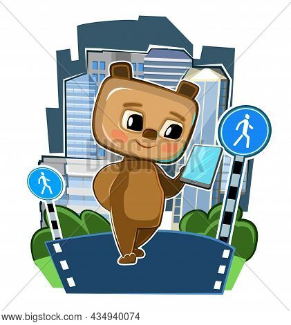 Cute Kid Bear With A Smartphone In The Pedestrian Zone. Traffic Laws. Good Kid Animal. Illustration
