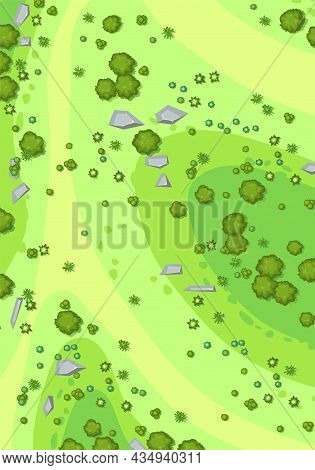 Hilly Lawn In The Forest. Map. View From Above. Countryside Rural Landscape. Green Foliage Of Trees