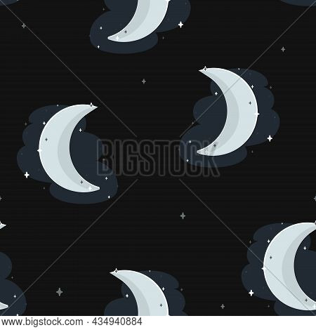 Vector Crescent Moon At Magical Starry Night Seamless Pattern Background. Perfect For Fabric, Scrapb