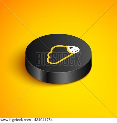 Isometric Line Humidity Icon Isolated On Yellow Background. Weather And Meteorology, Cloud, Thermome