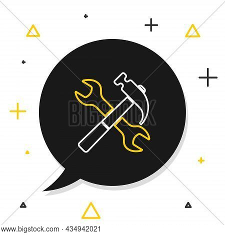 Line Crossed Hammer And Wrench Icon Isolated On White Background. Hardware Tools. Colorful Outline C