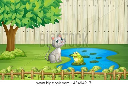 Illustration of a cat and a frog inside the fence
