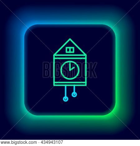 Glowing Neon Line Retro Wall Watch Icon Isolated On Black Background. Cuckoo Clock Sign. Antique Pen