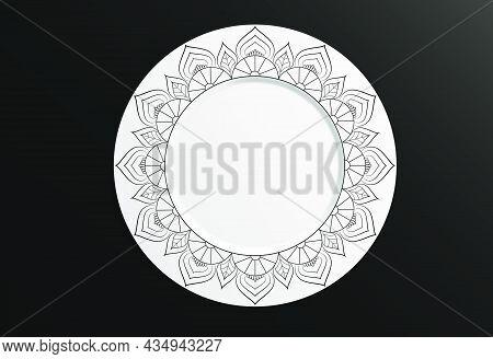 Set Of Design Mandala Ornament And Round Frame. Vector Illustration. Round Geometric Floral Pattern.