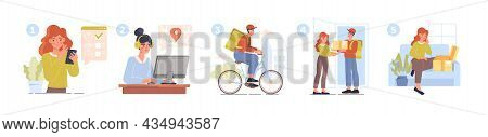 Concept Of Delivery. Several Steps, Send Goods, Infographics. Online Orders, Buying Goods From Home.
