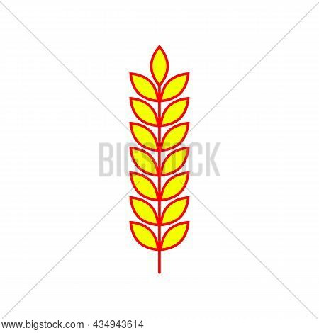 Red Yellow Spikelet And Ear Of Wheat, Barley Or Rye. Vector Clipart, Icon And Illustration On White