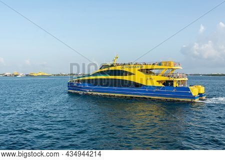 Cancun, Mexico - September 13, 2021: Ultramar Ferry Traveling With Tourists From Cancun To Isla Muje