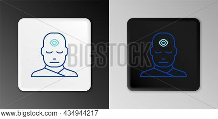 Line Man With Third Eye Icon Isolated On Grey Background. The Concept Of Meditation, Vision Of Energ