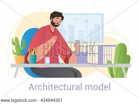 Man Builds Architectual Model. Highrise Planning, Multistorey Building. Young Architect, Layout, Con