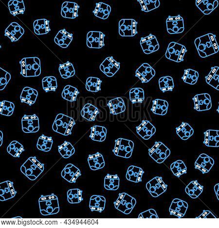 Line X-ray Machine Icon Isolated Seamless Pattern On Black Background. Vector