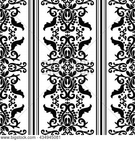 Elegant Decor Wallpaper With Ornament And Stripe. Vector Vintage Seamless Pattern. Black And White C