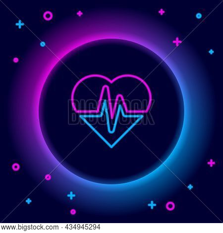 Glowing Neon Line Health Insurance Icon Isolated On Black Background. Patient Protection. Security,