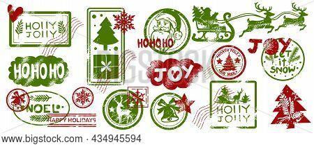 Christmas Mail Stamp Set, Vector Santa Claus Postmark Sign Kit, Winter Holiday Vintage Letter Label.
