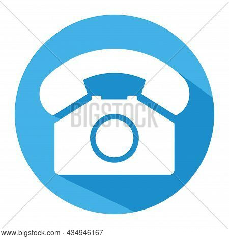 Old Phone In Blue Circle Flat Icon Isolated On White Background. Hotline Symbol. Telephone Vector Il