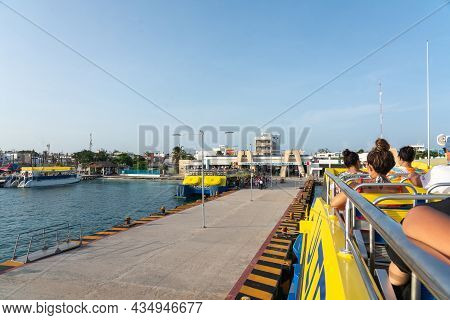 Isla Mujeres, Mexico - September 13, 2021: View Of Ferry Port With The Boat Ultramar In Isla Mujeres