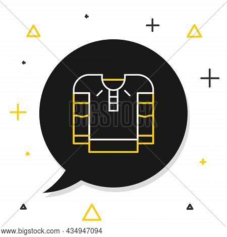 Line Embroidered Shirt Icon Isolated On White Background. National Ukrainian Clothing. Colorful Outl