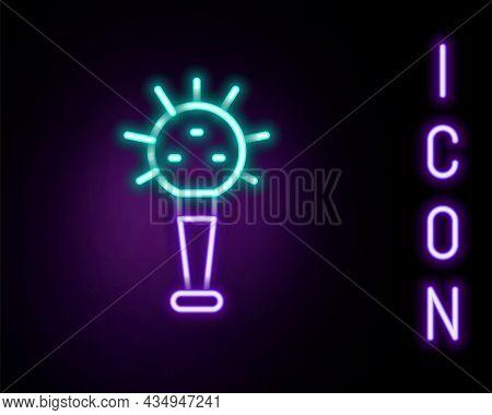 Glowing Neon Line Mace, Symbol Of Ukrainian National Power Icon Isolated On Black Background. Tradit