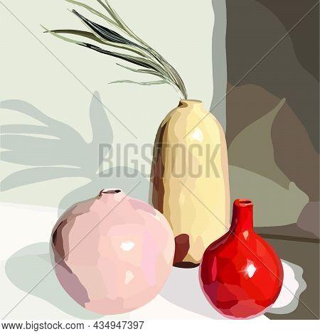 Vases With Decorative Plants. Vector Fashion Illustration