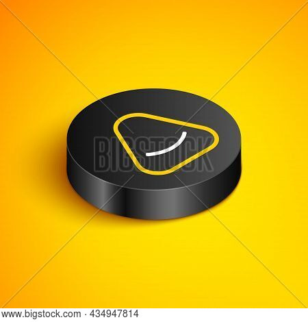 Isometric Line Pouf Icon Isolated On Yellow Background. Soft Chair. Bag For The Seat. Comfortable Fu