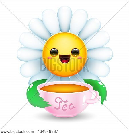 Happy Cartoon Daisy Flower With Tea Mug. Cute White Flower On White Background. Vector Illustration