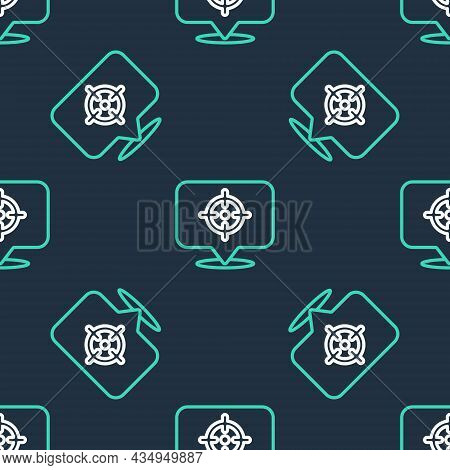 Line Target Financial Goal Concept Icon Isolated Seamless Pattern On Black Background. Symbolic Goal