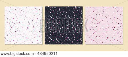 Terrazzo Texture Classic Italian Floor Composed Of Natural Stone, Granite, Quartz, Marble, Glass And