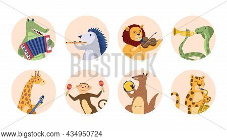 Animals Play Music Concept. Wild Animals With Violin, Guitar, Accordion, Flute And Drums. Collection