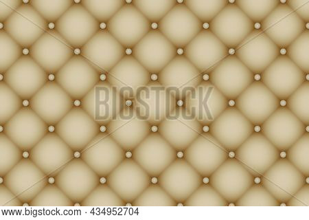 Quilted Buttoned Leather Pattern Vector. Upholstery Or Walls. Luxury Textures Of Vintage Furniture