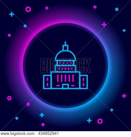 Glowing Neon Line White House Icon Isolated On Black Background. Washington Dc. Colorful Outline Con