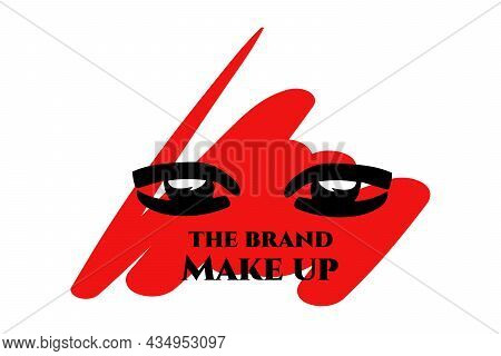 Graphic Eyes On A Red Background Of Blurred Shapes. The Brand Make Up Lettering. Logo, Company Name.